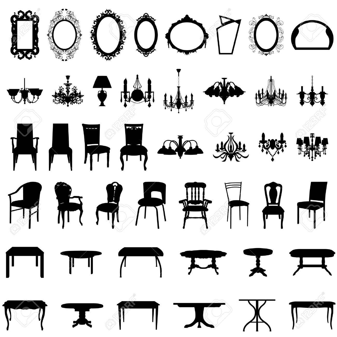 Set of different furniture silhouettes. illustration. Stock Vector - 7117128
