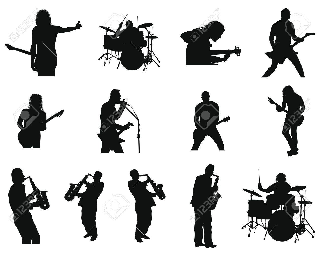 Collection of different rock and jazz silhouettes. illustration. Stock Vector - 7296281