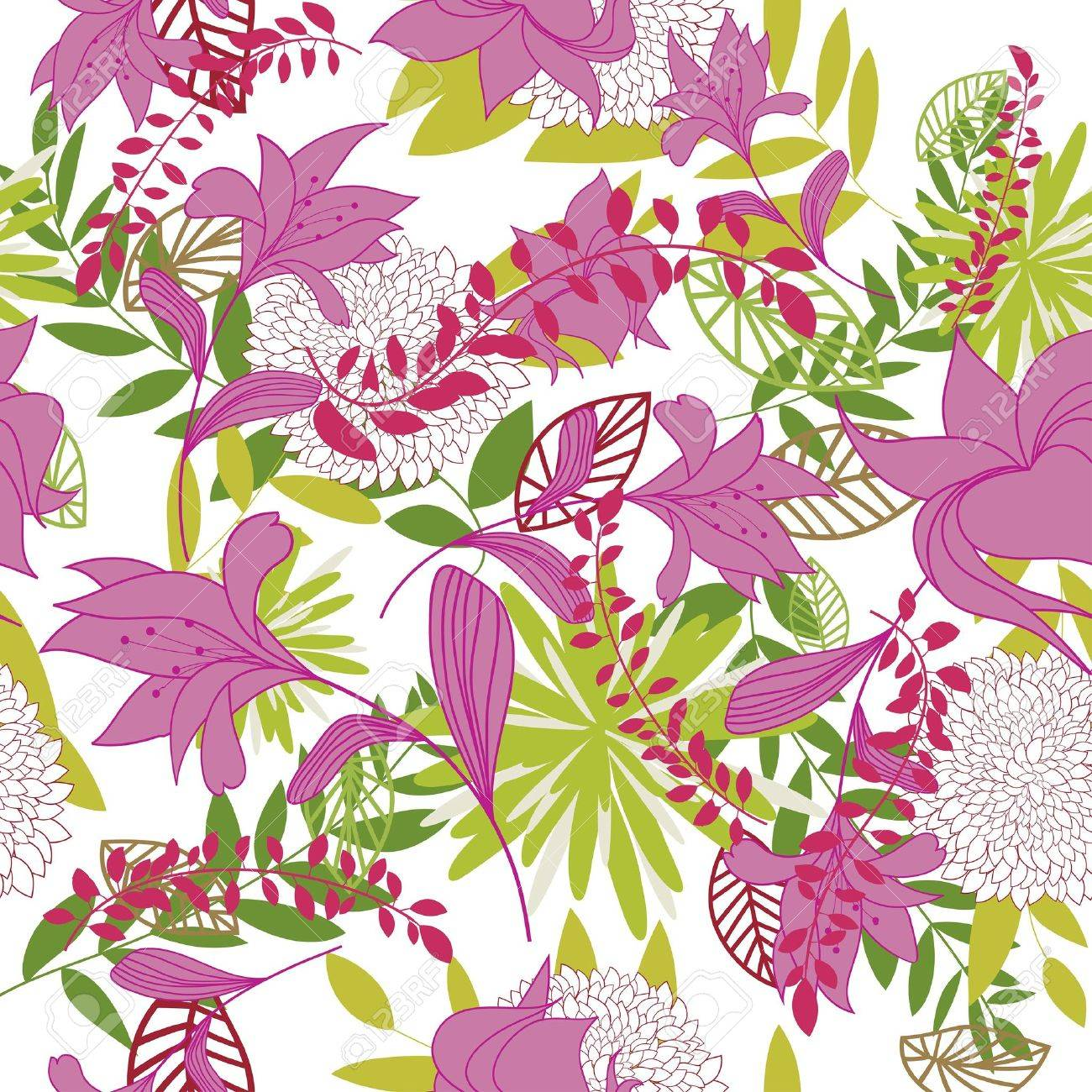 Seamless   floral background. For easy making seamless pattern just drag all group into swatches bar, and use it for filling any contours. Stock Vector - 7569913