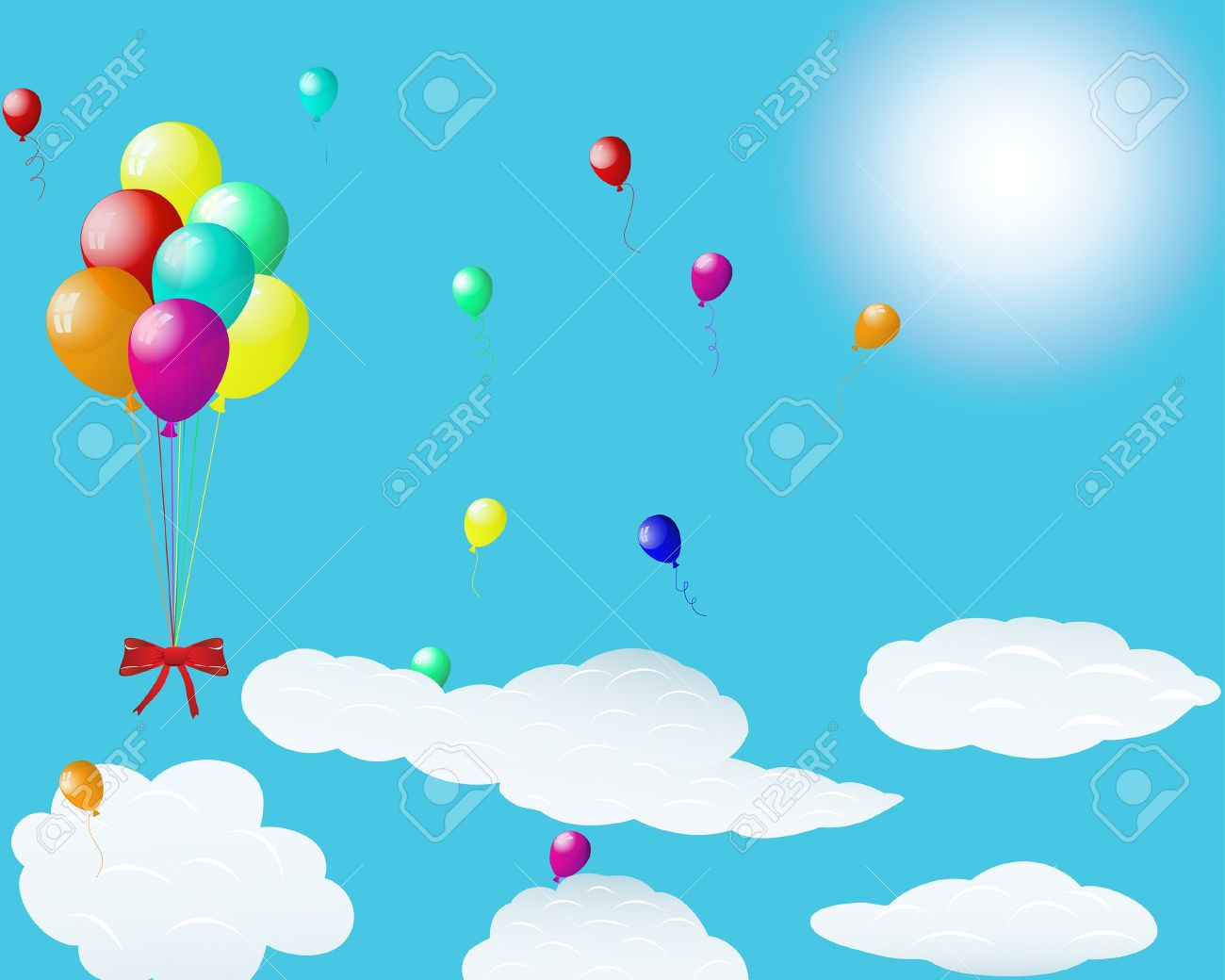 Beautiful balloons in the air.  illustration. Stock Vector - 7763754