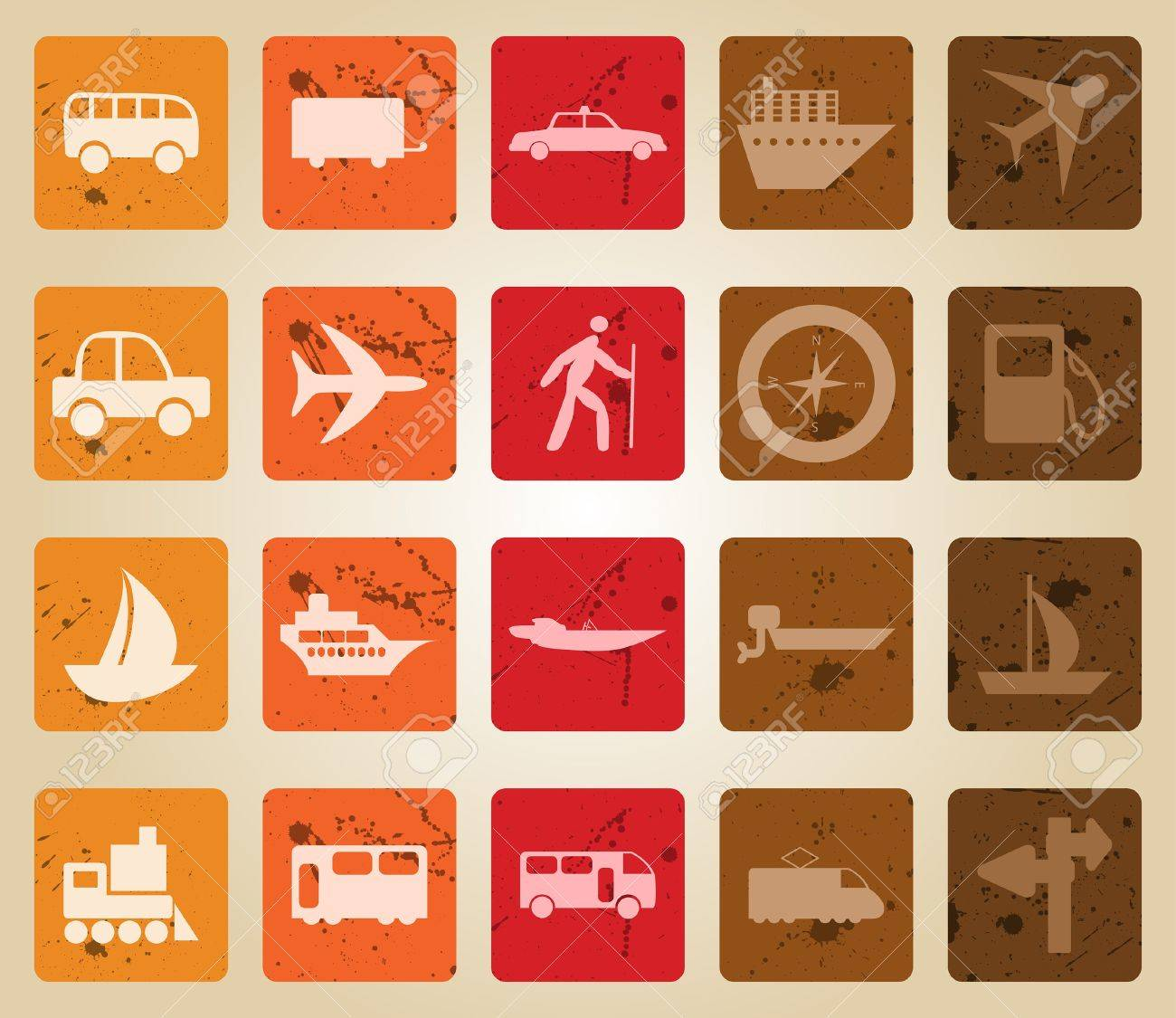 Transportation set of different   web icons. Retro style. Stock Vector - 7763743