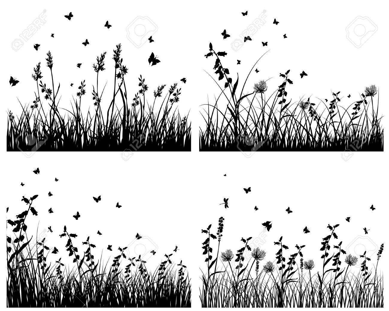 Set of four   grass silhouettes backgrounds Stock Vector - 7822205