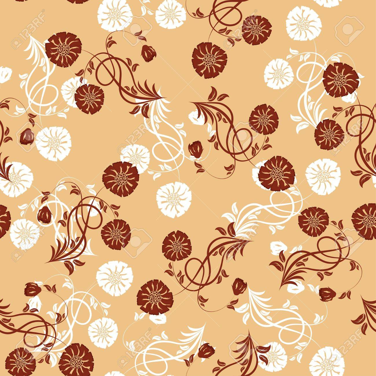 Seamless   floral pattern. For easy making seamless pattern just drag all group into swatches bar, and use it for filling any contours. Stock Vector - 8464285
