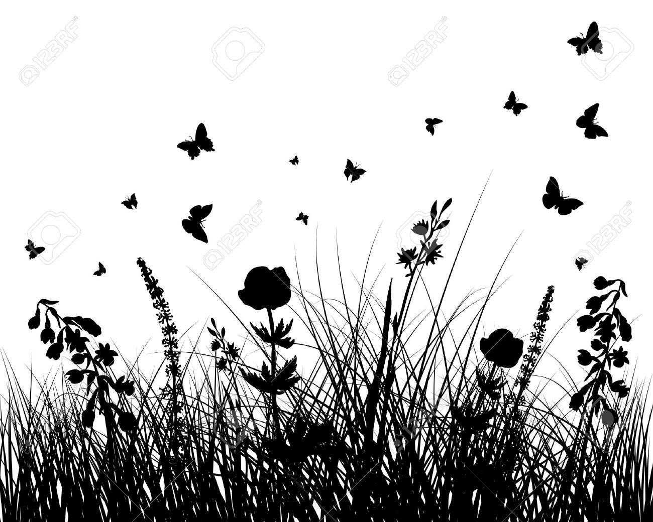 grass silhouettes background. All objects are separated. - 8656463