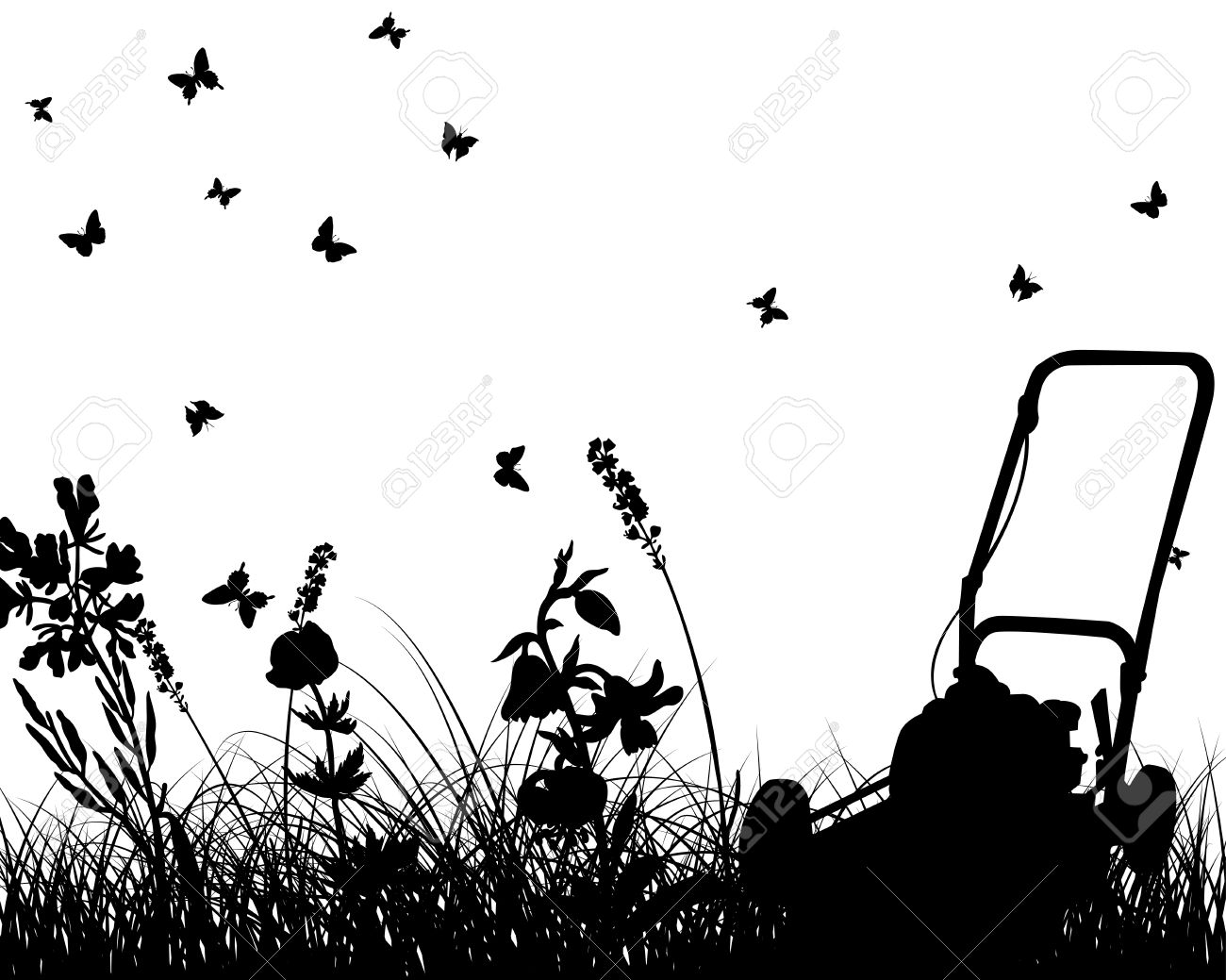 grass silhouettes with grass mower. All objects are separated. Stock Vector - 8978391