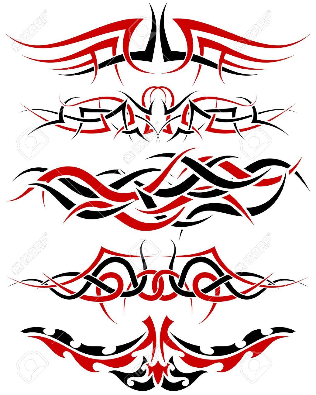 Patrones De Tatuaje Tribal Negro Y Rojo Para Uso De Diseño