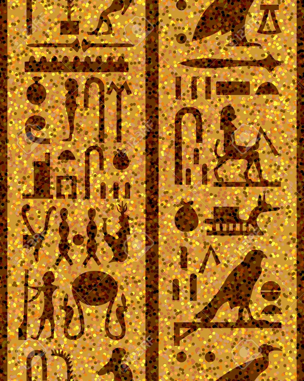 Egyptian seamless hieroglyphs pattern.  For easy making seamless pattern just drag all group into swatches bar, and use it for filling any contours. Stock Vector - 9417584