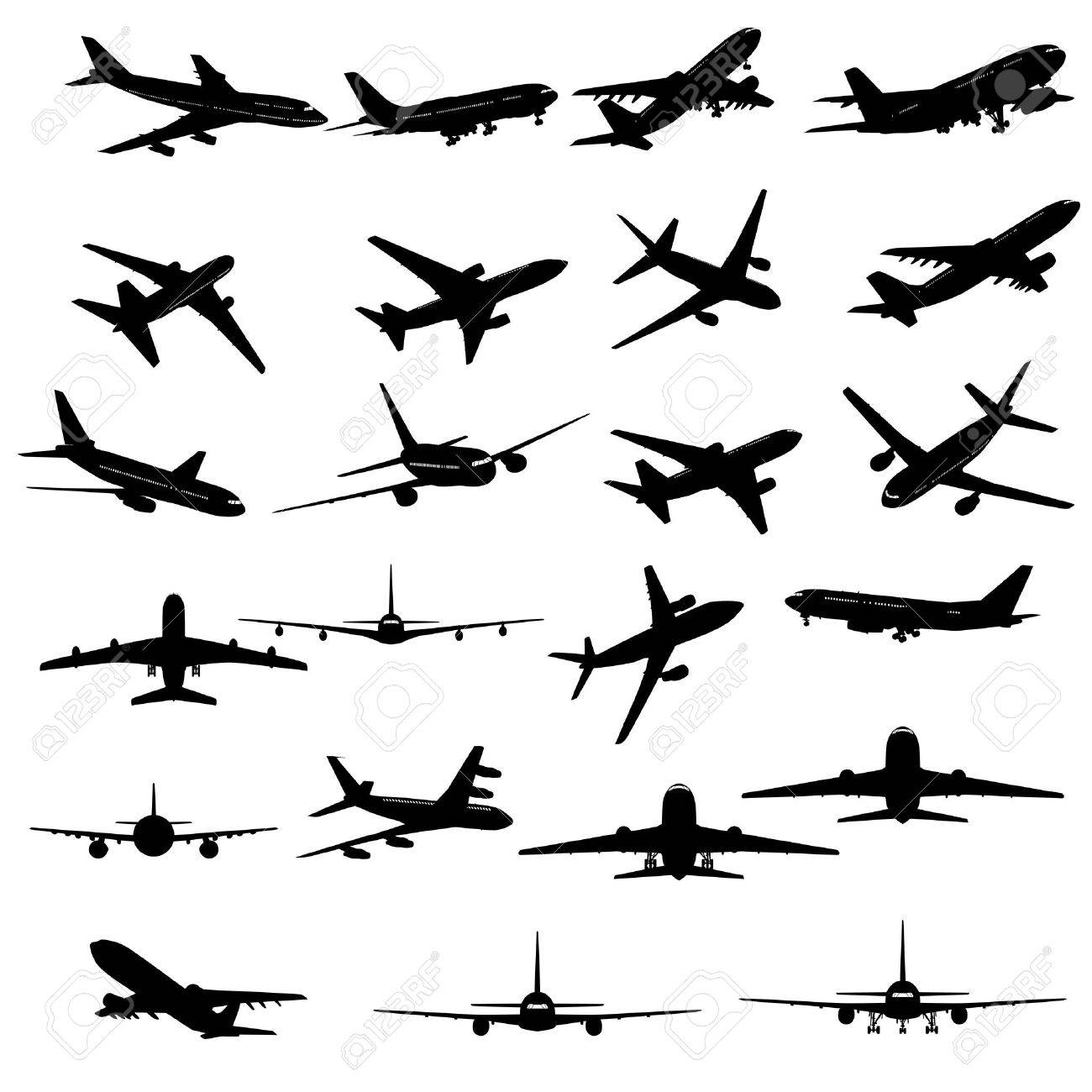 Big collection of different airplane silhouettes. Stock Vector - 9466253