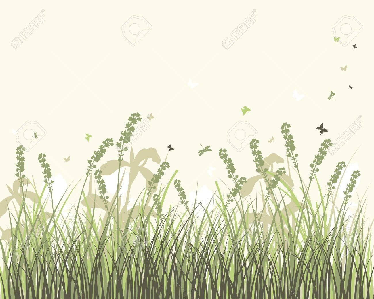 Vector grass silhouettes background. All objects are separated. Stock Vector - 9504326