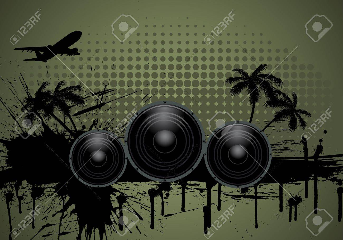 Musical grunge background. Vector illustration. Stock Vector - 9504347