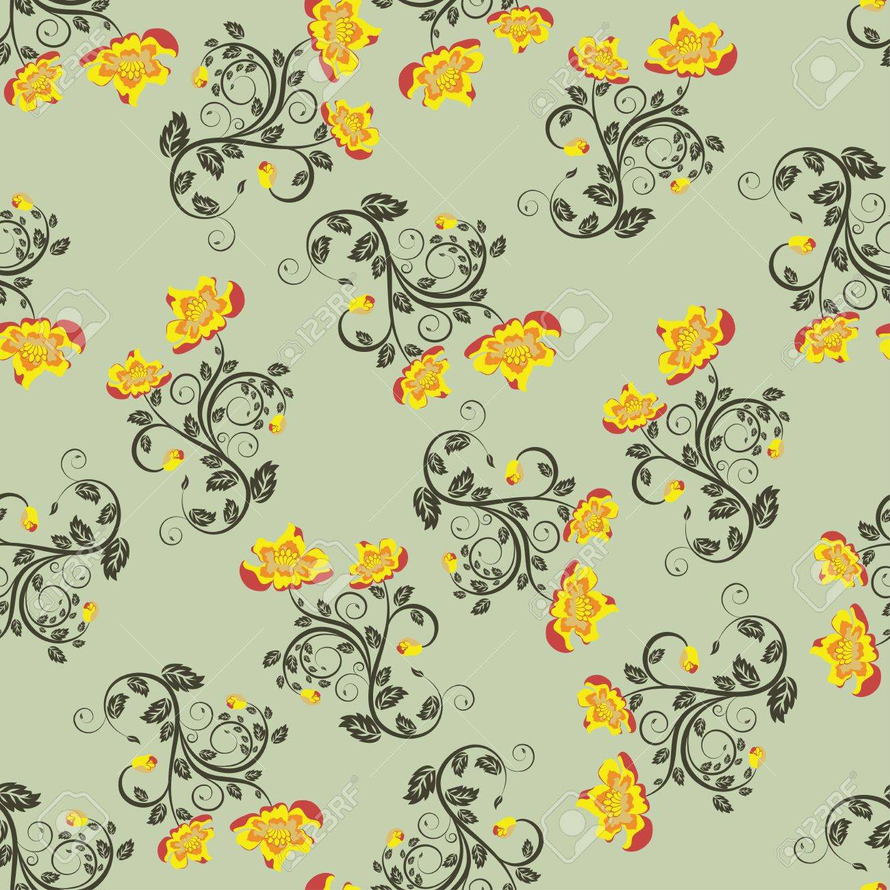 Seamless vector floral pattern. For easy making seamless pattern just drag all group into swatches bar, and use it for filling any contours. Stock Vector - 9705291