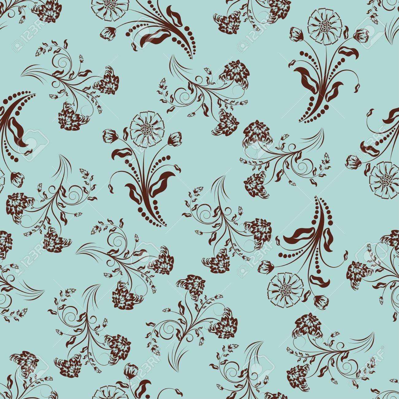 Seamless vector floral pattern. For easy making seamless pattern just drag all group into swatches bar, and use it for filling any contours. Stock Vector - 10089329