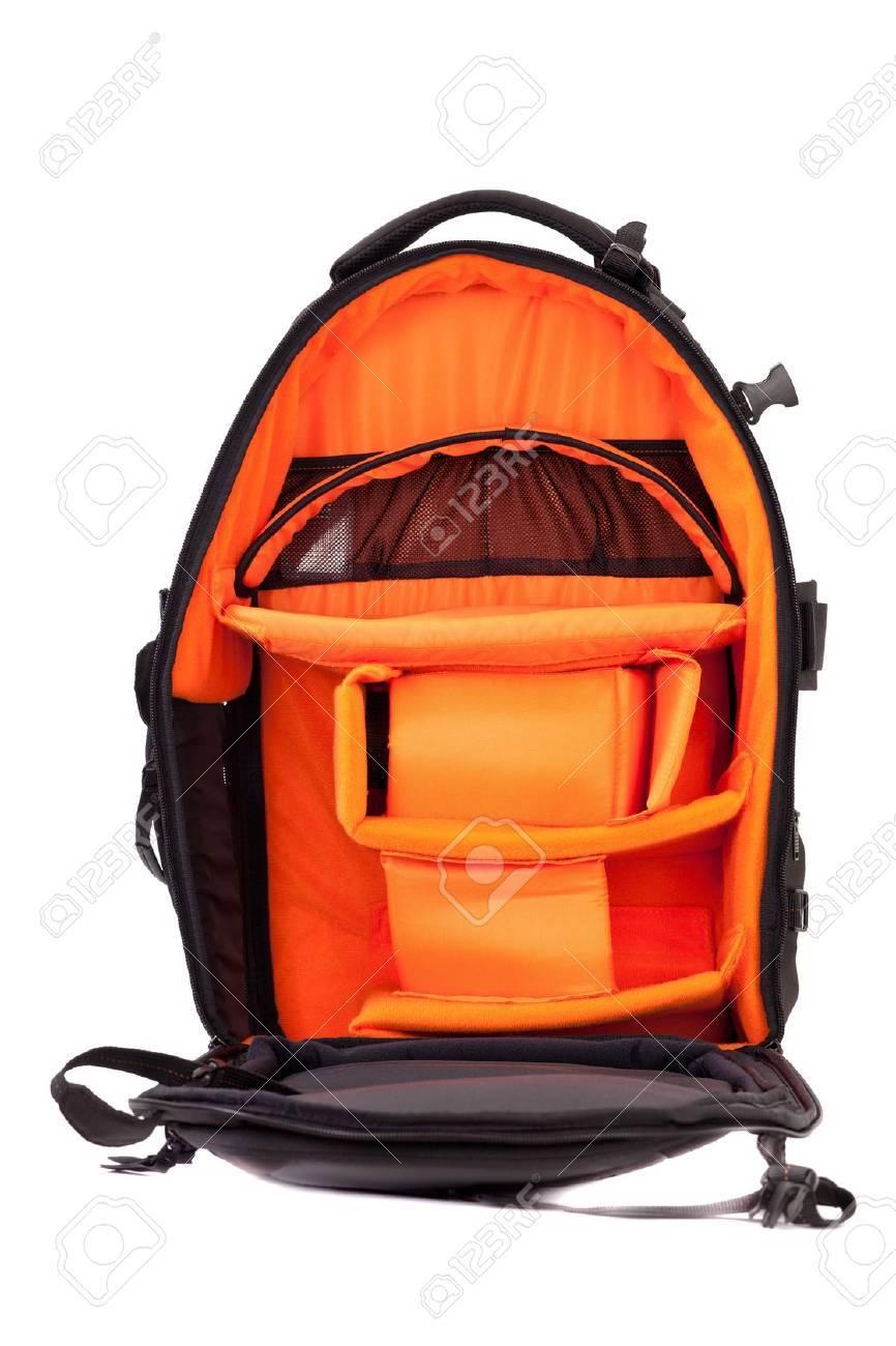 Black photo knapsack isolated on white background Stock Photo - 10588658