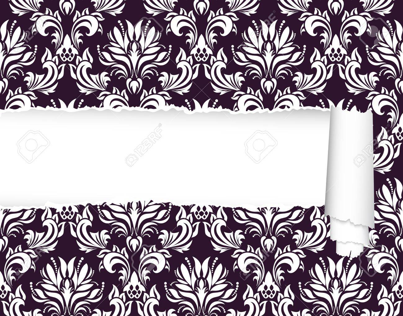 Damask seamless vector pattern with ripped copy-space for your text.  For easy making seamless pattern just drag ornate group into swatches bar, and use it for filling any contours. Stock Vector - 10880603