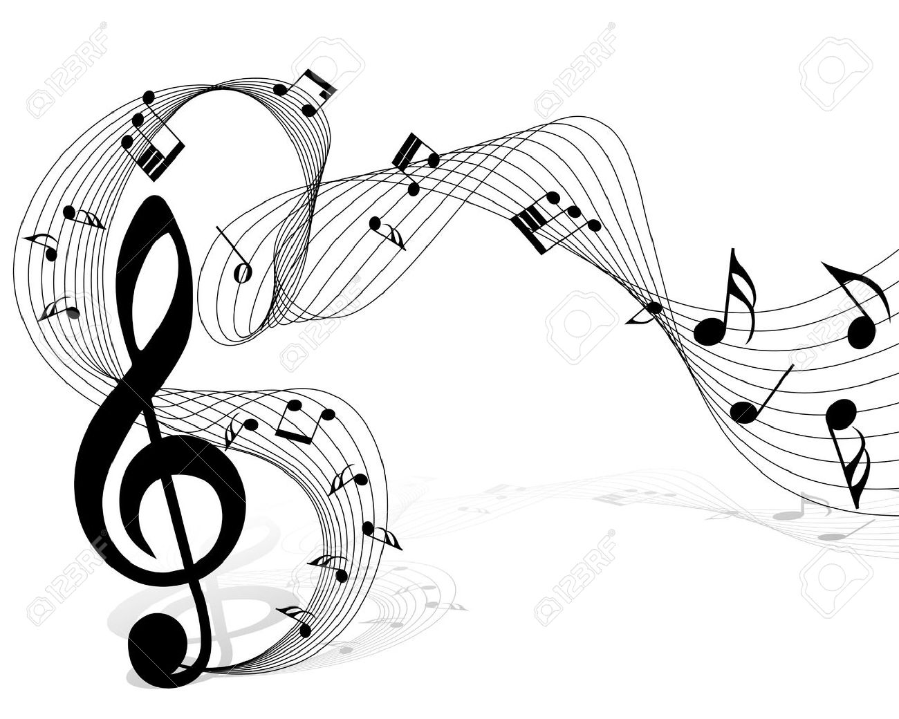 Vector musical notes staff background for design use - 10880579