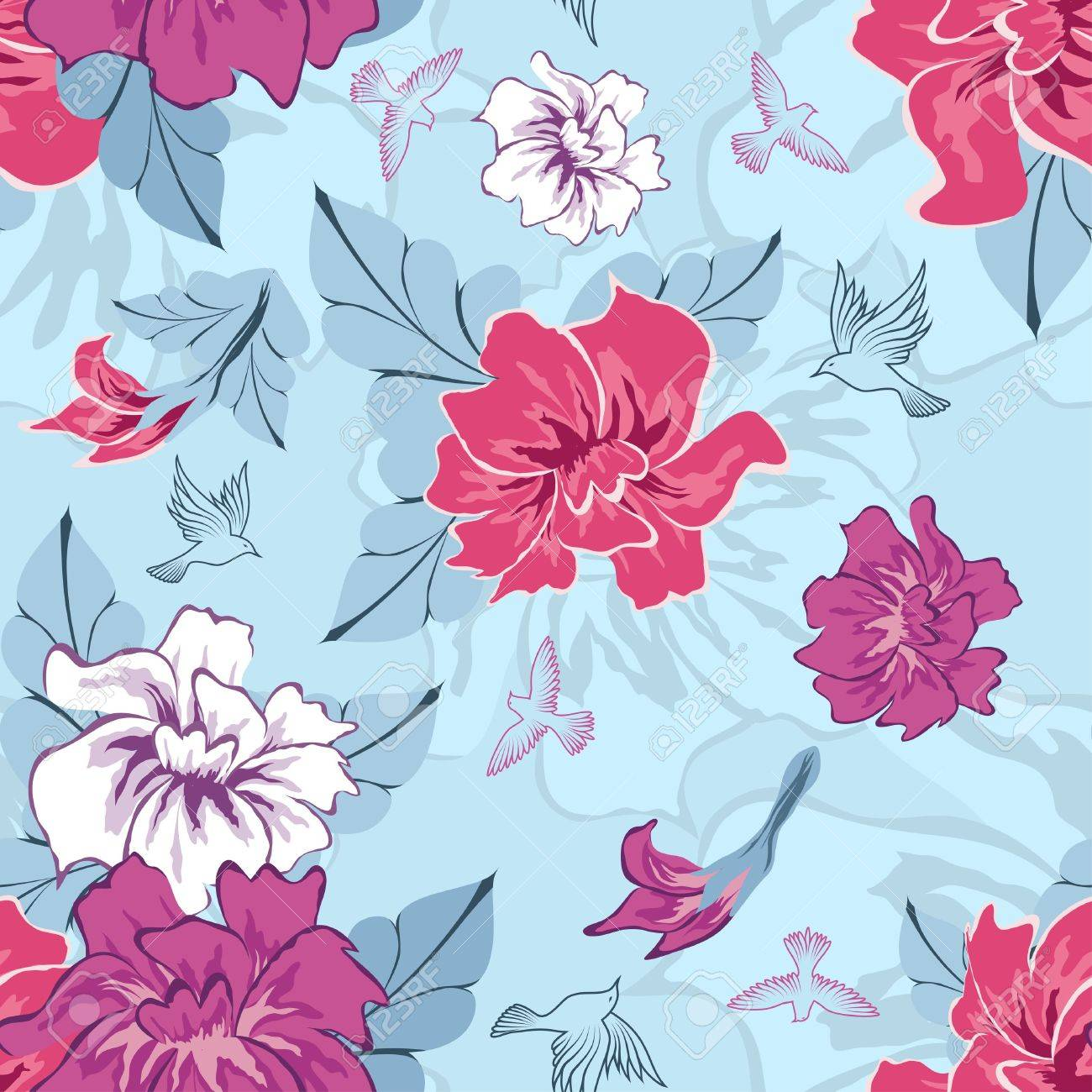 Seamless vector floral pattern. For easy making seamless pattern just drag all group into swatches bar, and use it for filling any contours. Stock Vector - 10880628