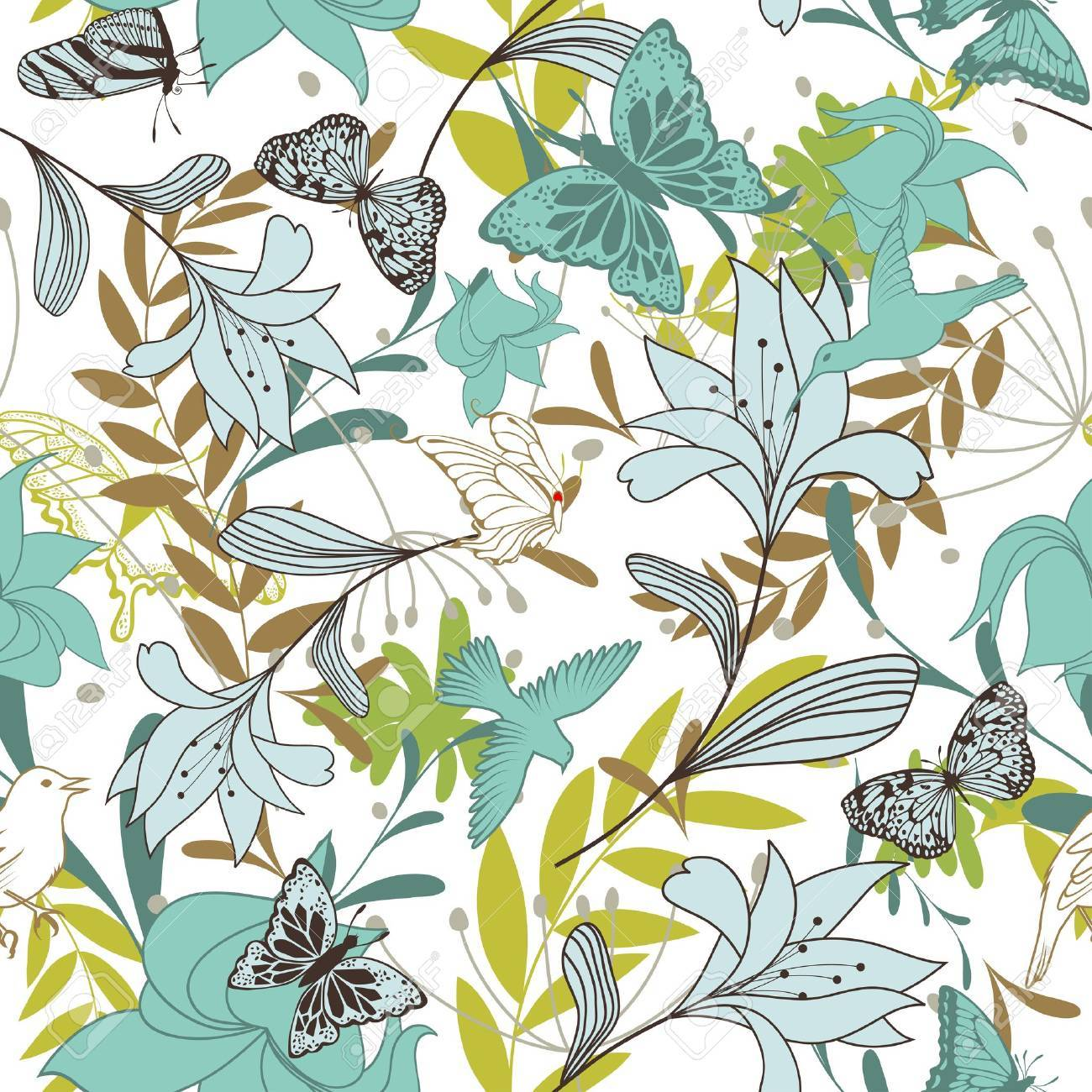 Seamless floral pattern. For easy making seamless pattern just drag all group into swatches bar, and use it for filling any contours. Stock Vector - 10960142