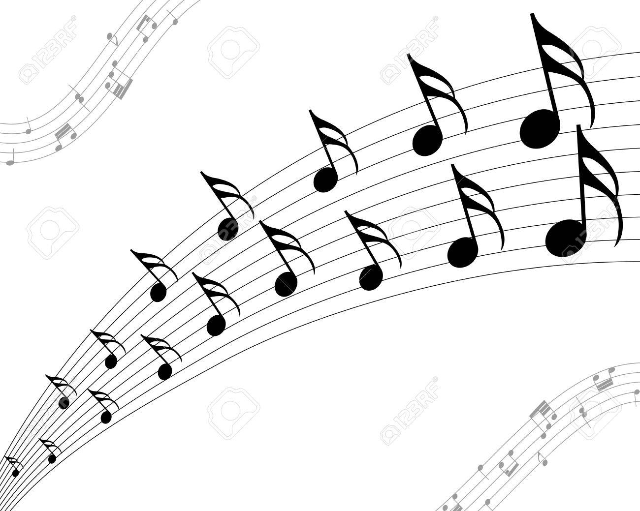 vector musical notes staff background for design use royalty free rh 123rf com Music Notes SVG Music Notes Symbols