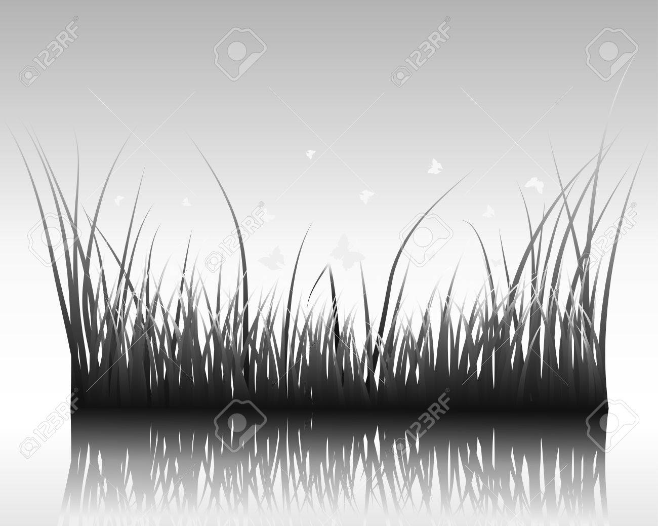 Vector grass silhouettes background with reflection in water. All objects are separated. Stock Vector - 12493049