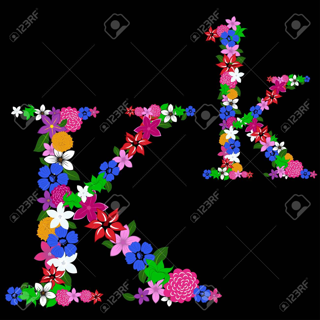 Floral alphabet letter for using in web and print design. Vector illustration. Stock Vector - 13719034