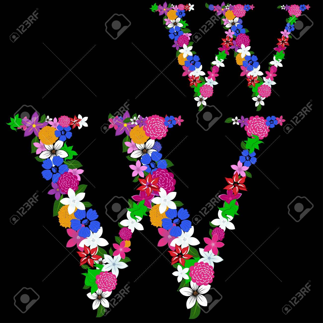 Floral alphabet letter for using in web and print design. Vector illustration. Stock Vector - 13719036