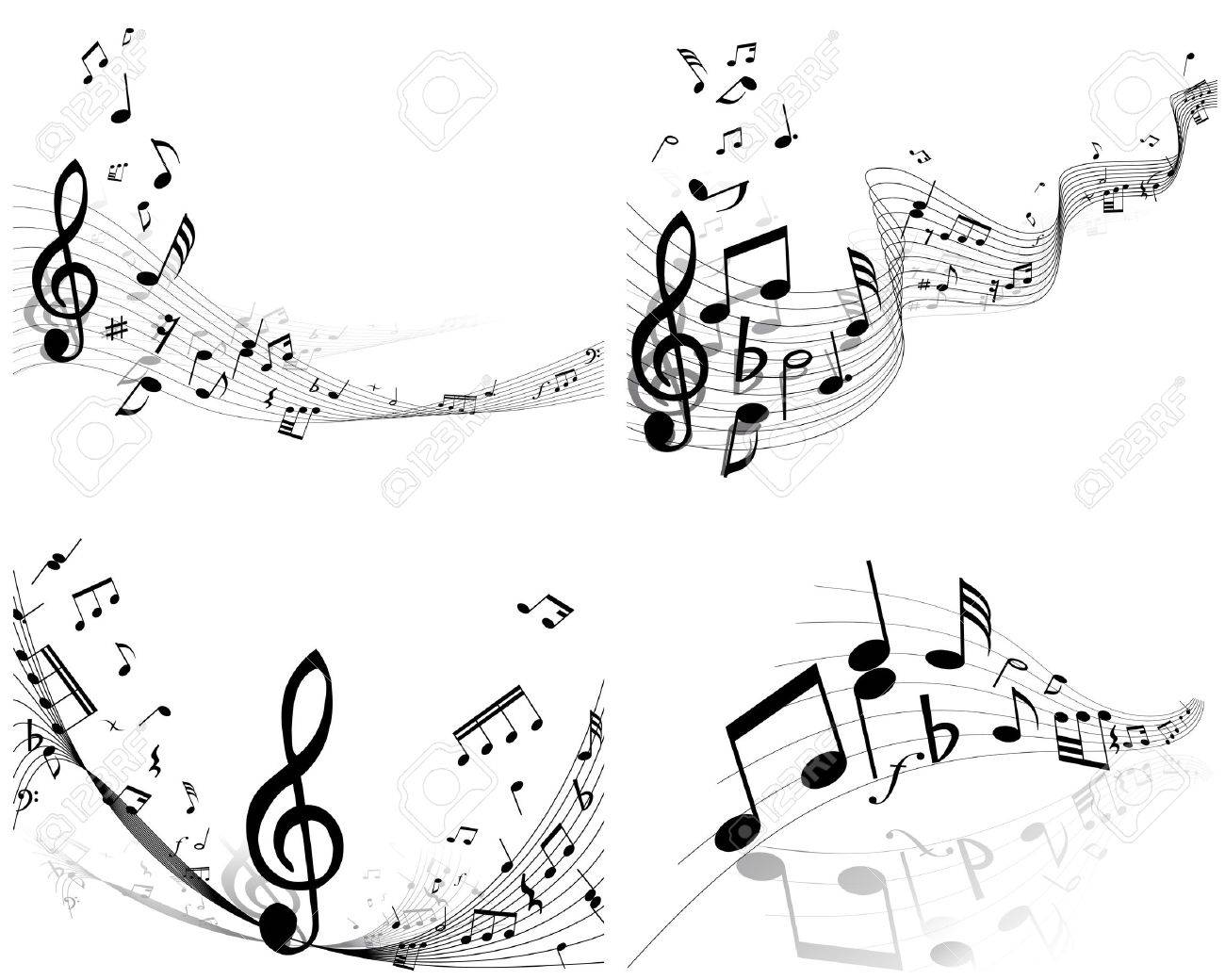 Vector musical notes staff background set for design use Stock Vector - 13786580