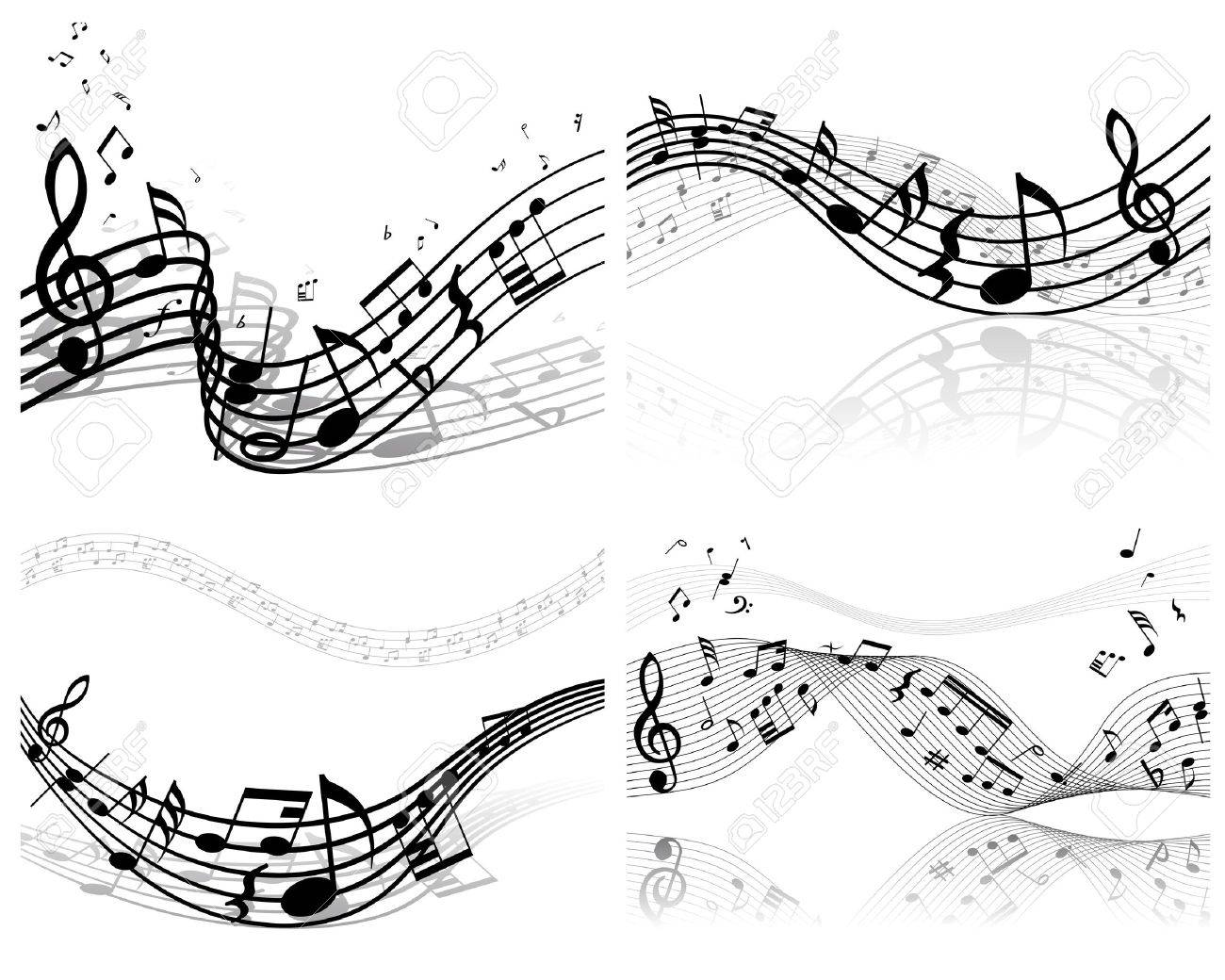 Vector musical notes staff background set for design use Stock Vector - 13786581