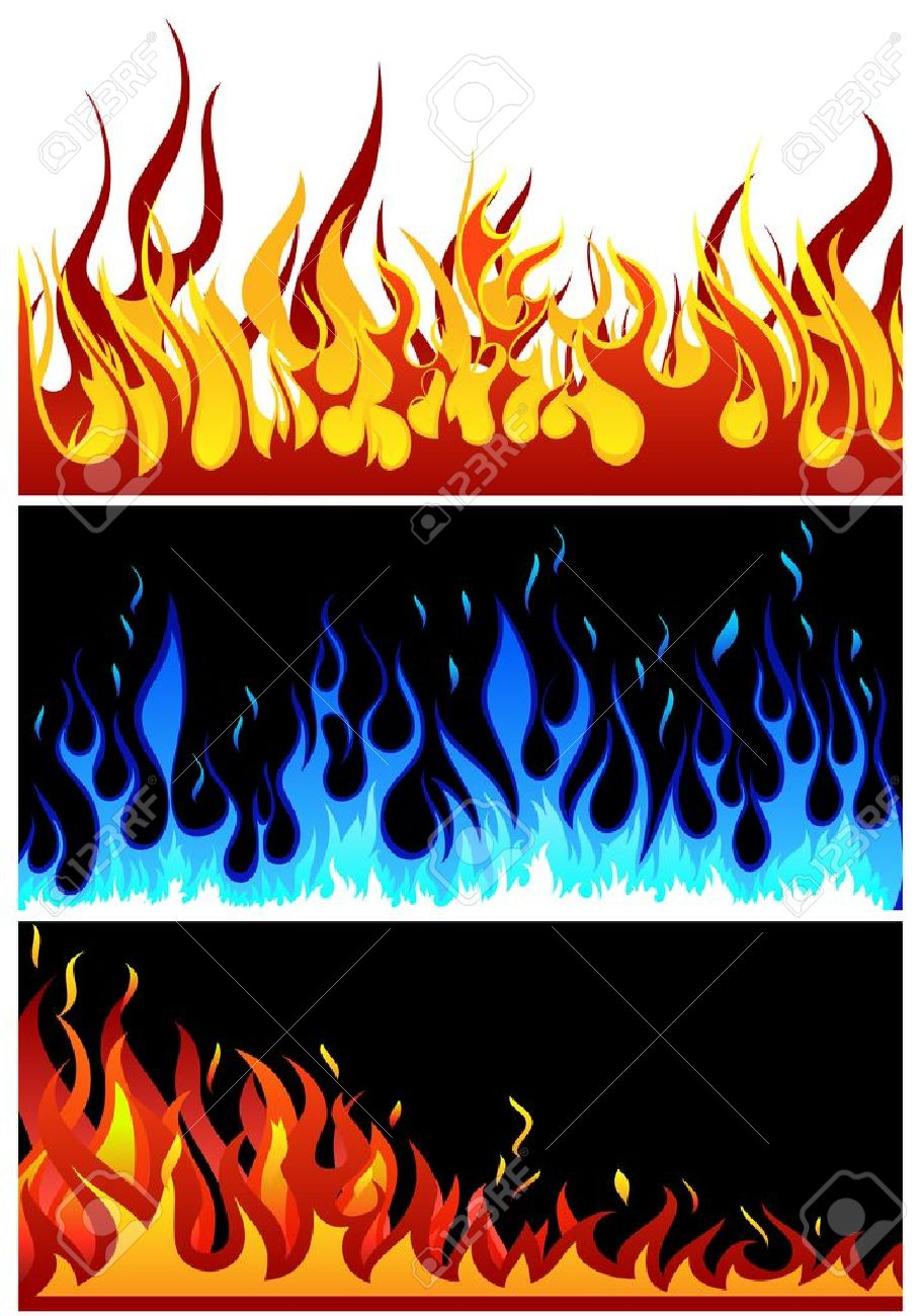 Set of fire vector backgrounds with tongue of flame - 14405215