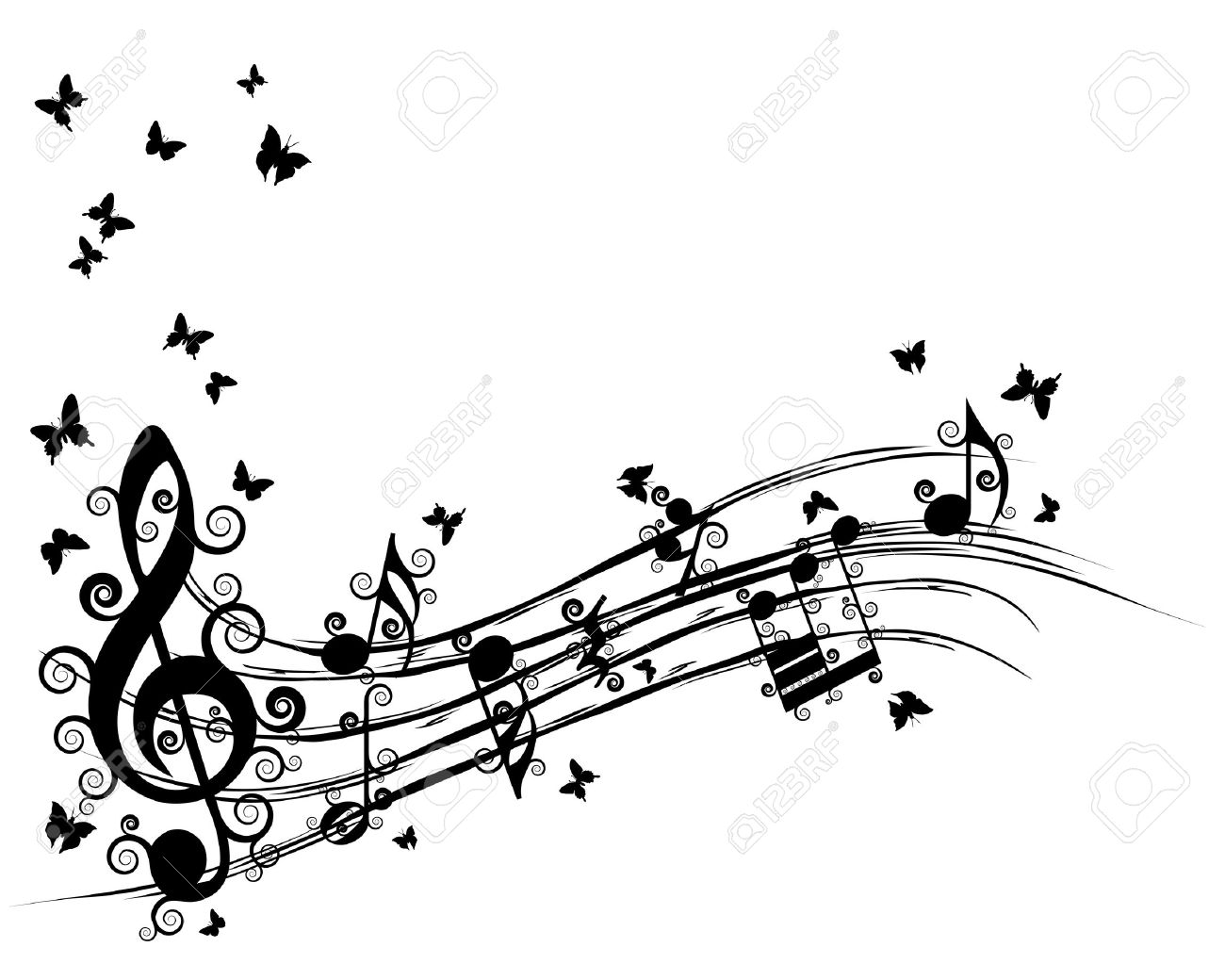 Vector musical notes staff background for design use Stock Vector - 14405214