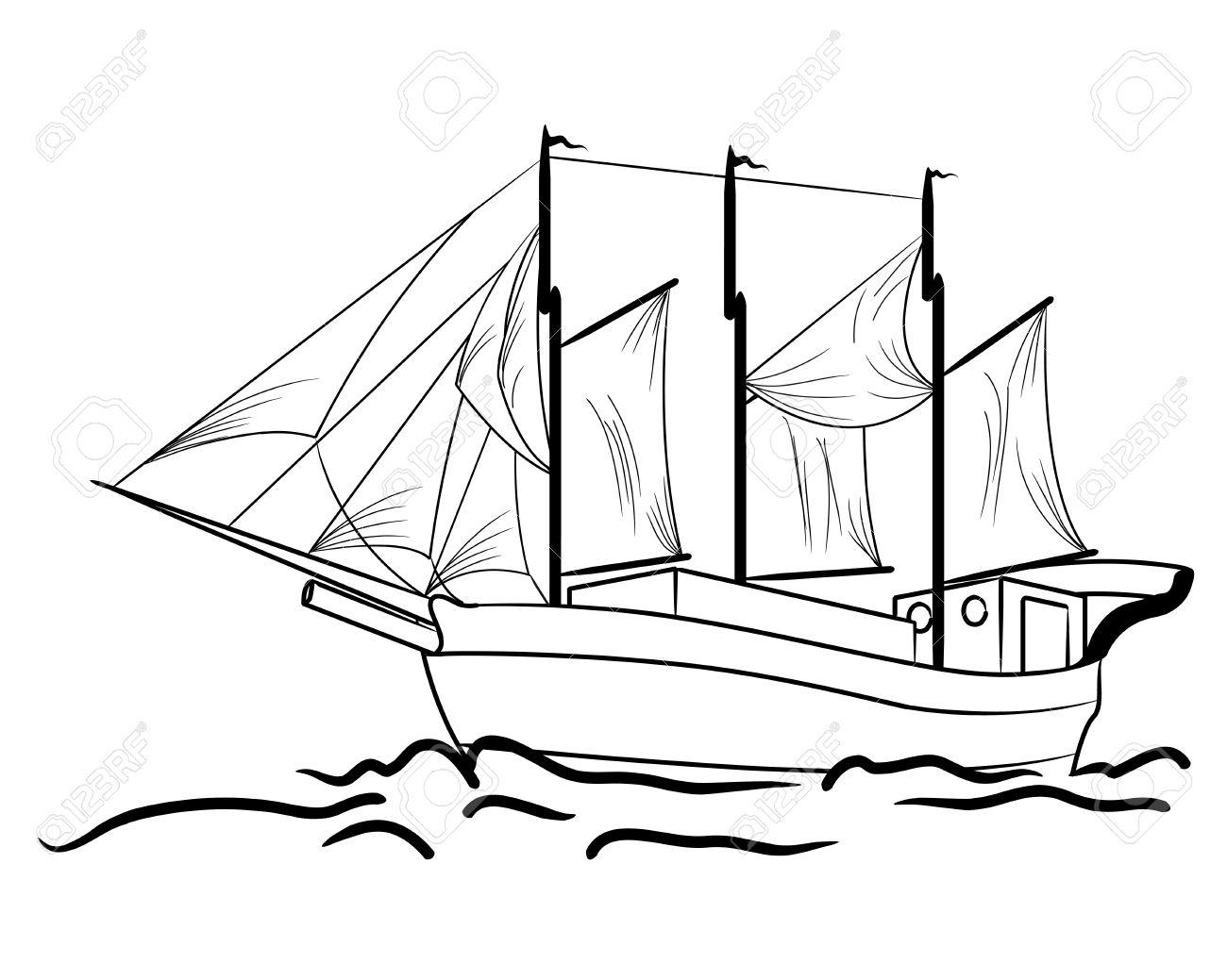 Vintage Sailboat Sketch Sketch of nautical sailing