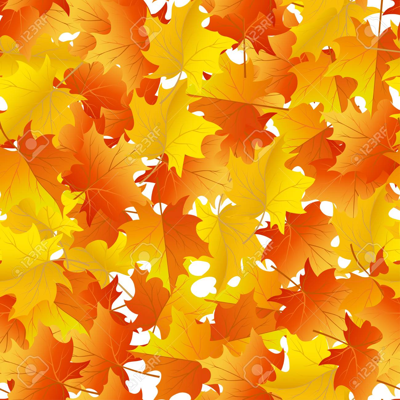 Autumn maples leaves seamless background. Stock Vector - 14791820