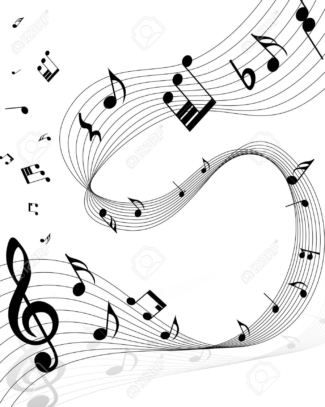 Musical notes staff background on white vector by tassel78 image - Sheet Music Musical Notes Staff Background On White