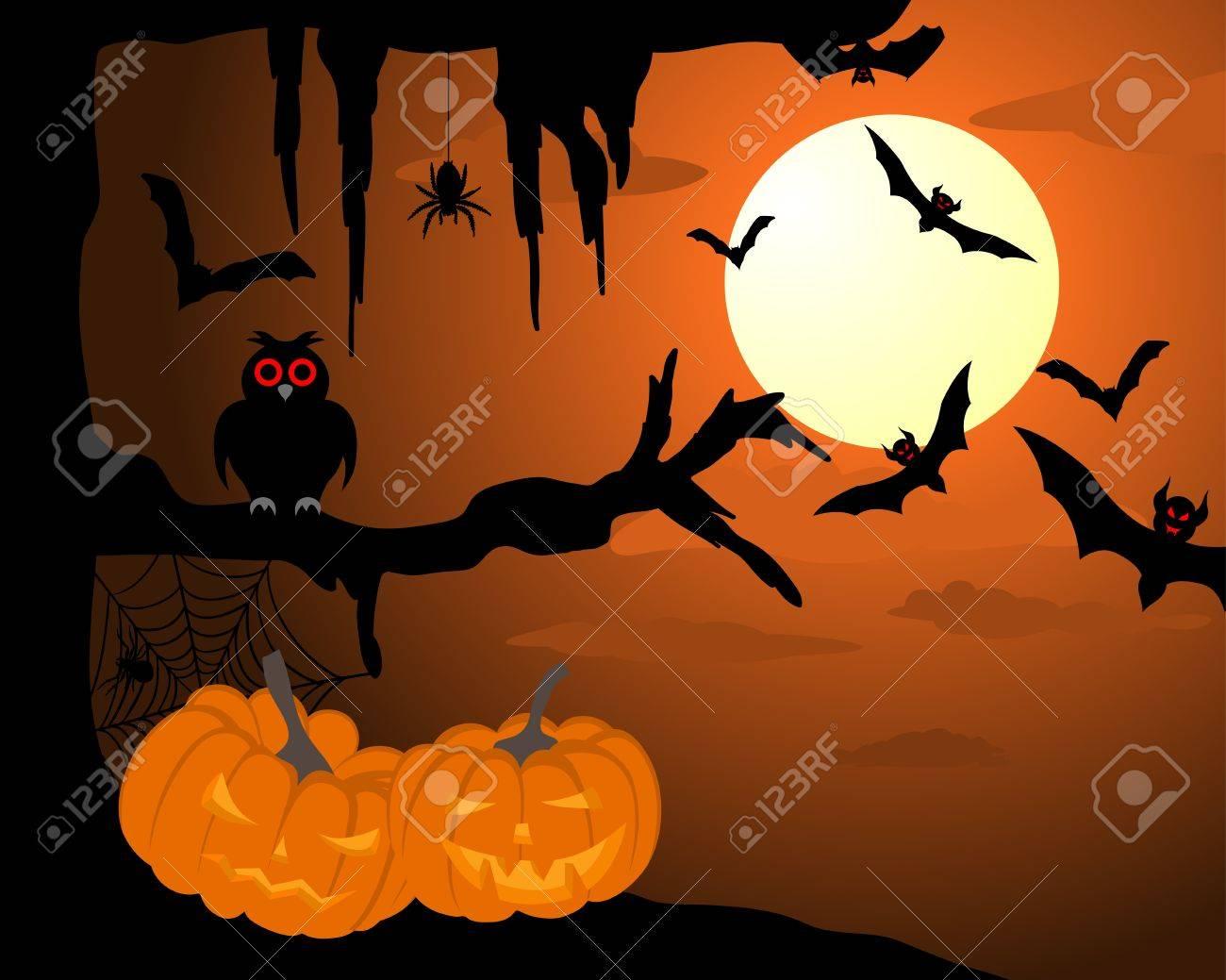 Happy halloween theme greeting card. illustration. Stock Vector - 14899185