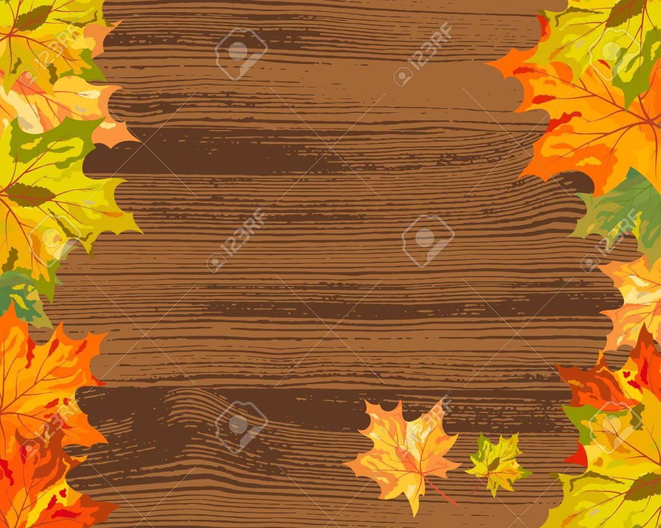Autumn maple tree leaves on  wooden plank. illustration. Stock Vector - 15031242