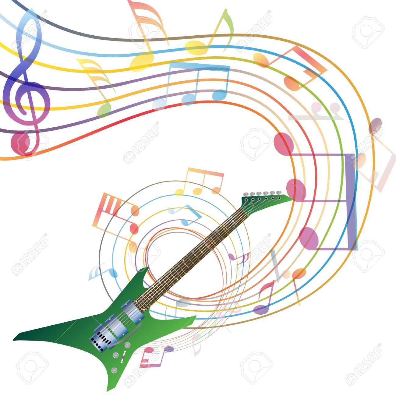 musical notes staff background with guitar illustration