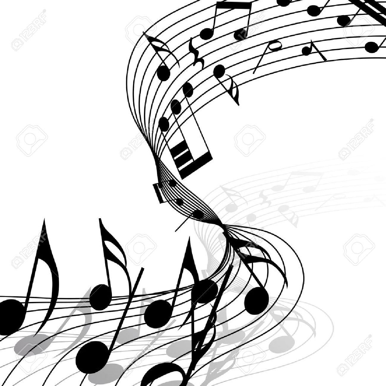 Musical notes staff background on white vector by tassel78 image - Flow Sheet Musical Notes Staff Background With Lines Illustration Illustration