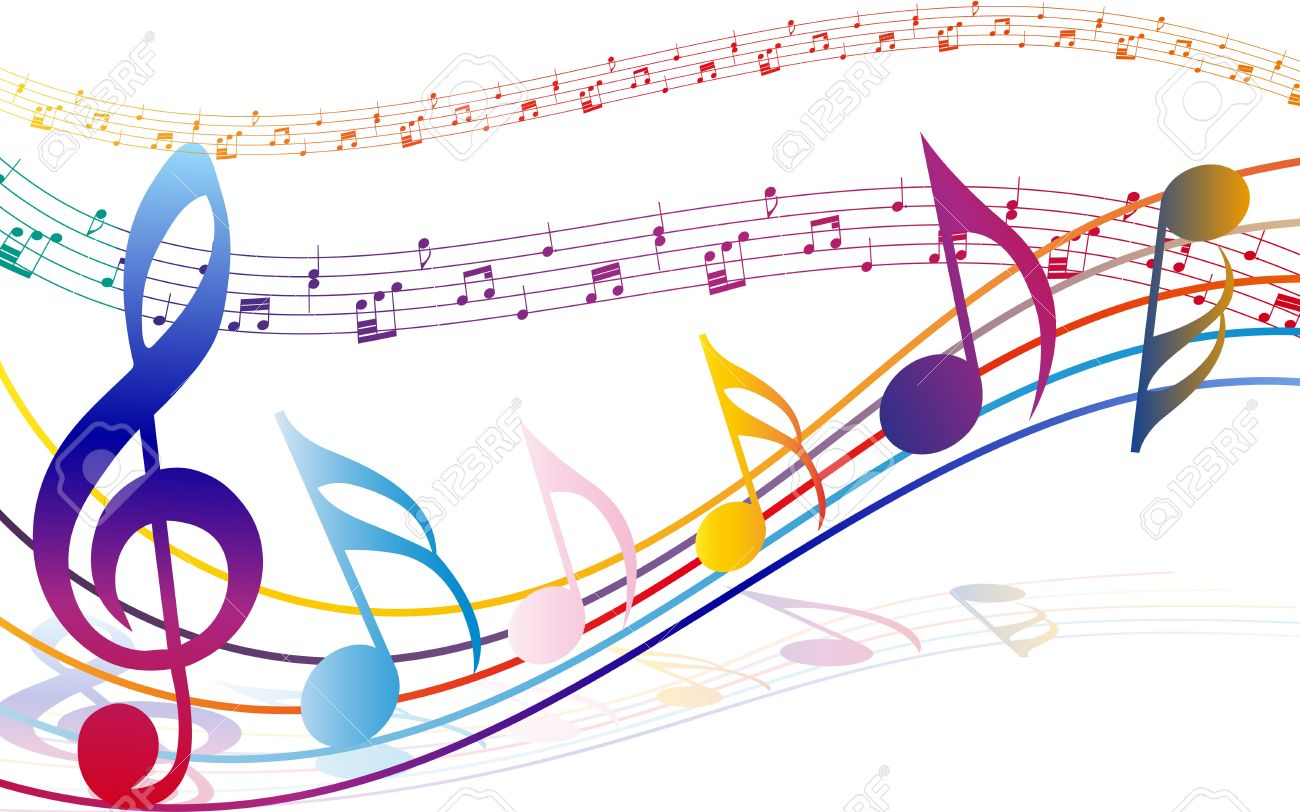 Musical notes staff background on white vector by tassel78 image - Music Notes Multi Colour Musical Notes Staff Background Illustration With Transparency