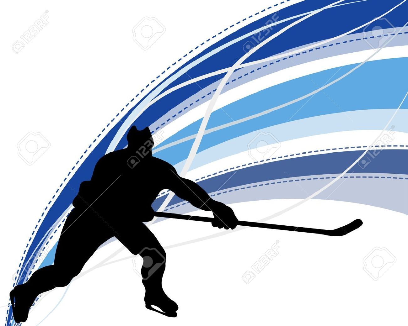 Hockey player silhouette with line background. illustration. Stock Vector - 15306900