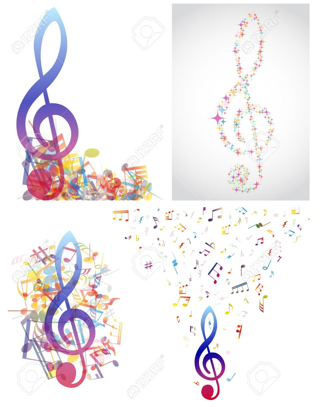 Multicolour Musical Notes Staff Background Illustration With