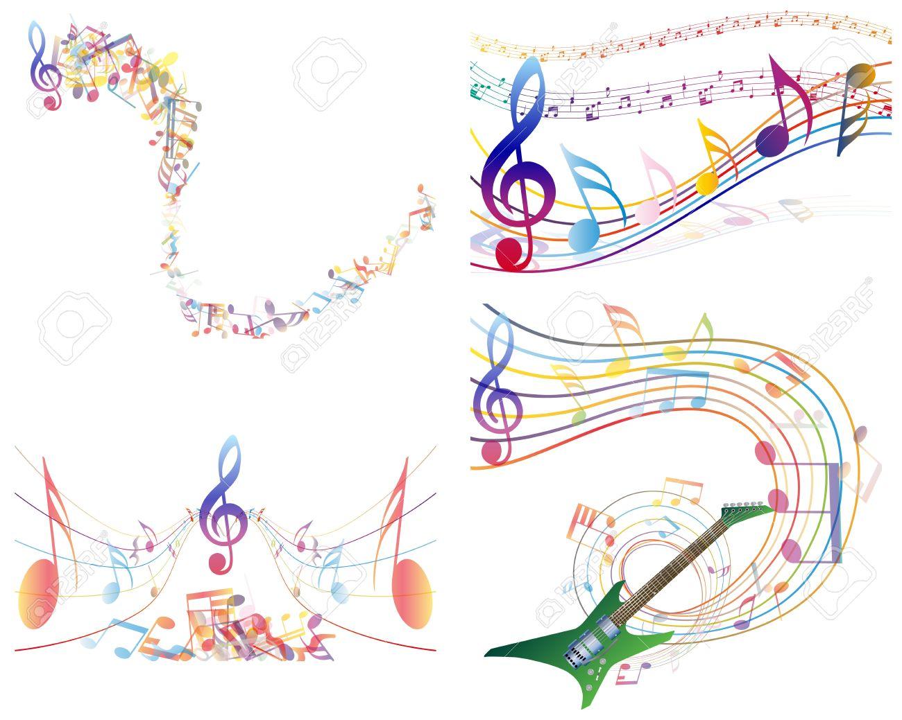 マルチカラー音楽ノート スタッフ背景透明なイラストのイラスト素材