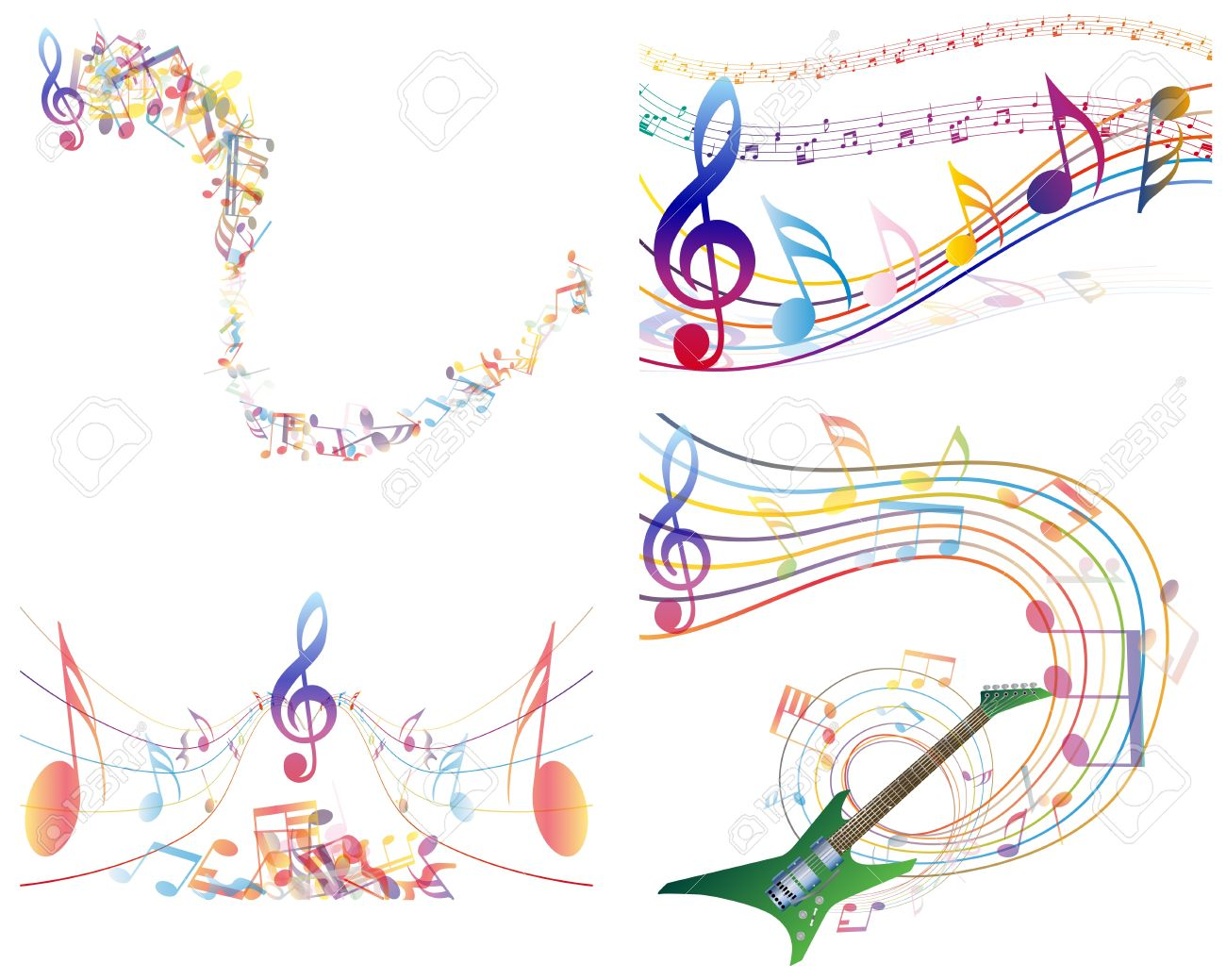 マルチカラー音楽ノート スタッフ背景。透明なイラスト ロイヤリティ