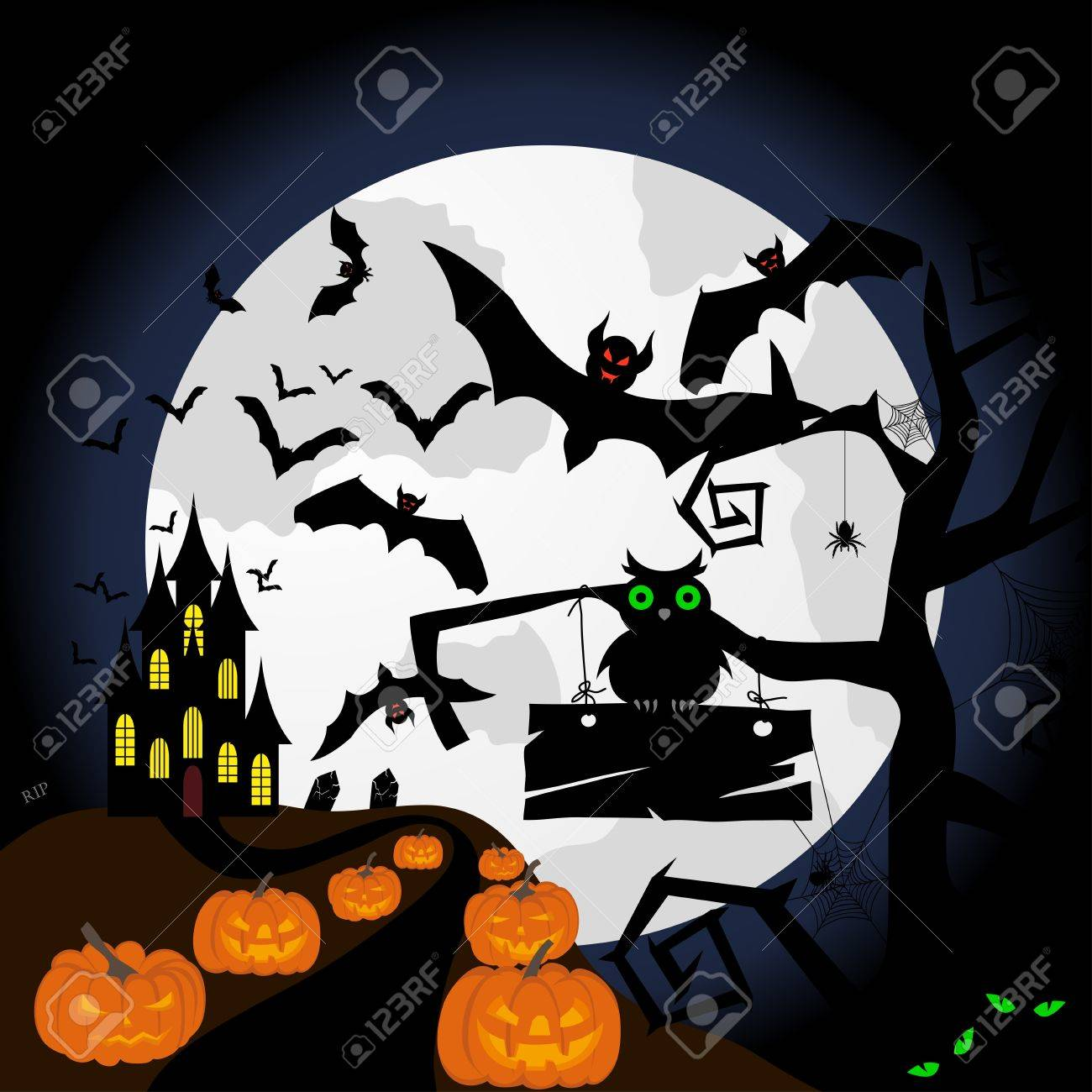 Happy halloween theme greeting card. illustration. Stock Vector - 15315386