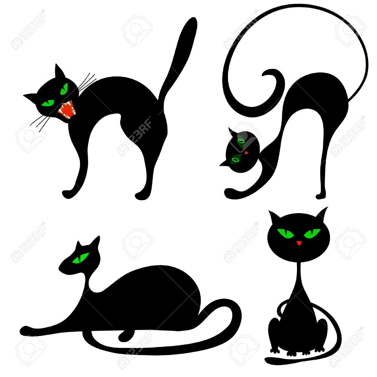 Juego De Halloween Gato Negro Con Los Ojos Verdes Vector