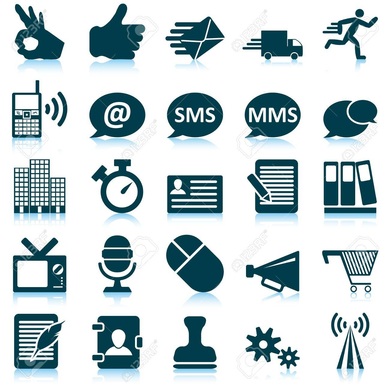 Office and communication icon set. Vector illustration. Stock Vector - 15386636