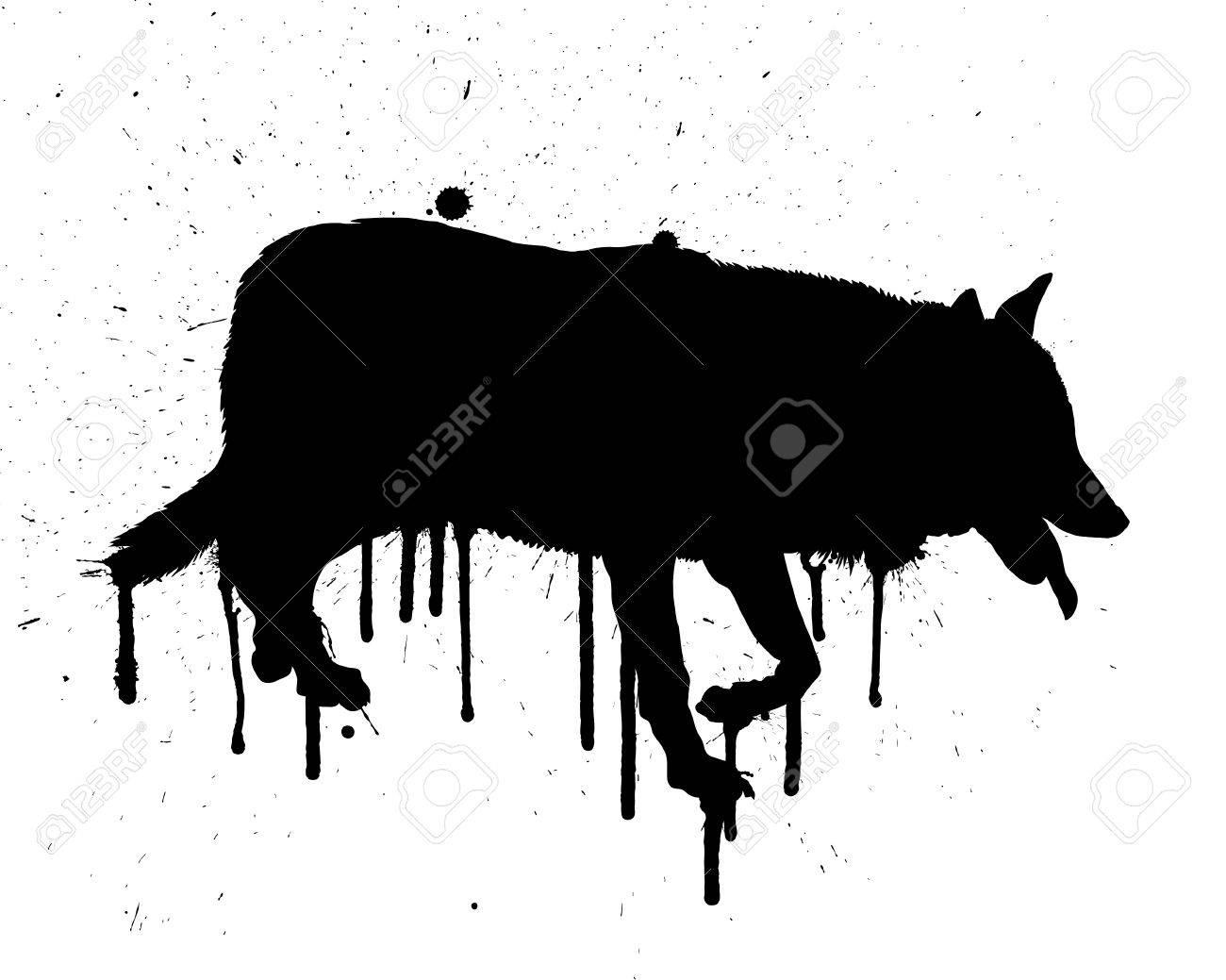 Silhouette of black grunge wolf. illustration. Stock Vector - 16034988
