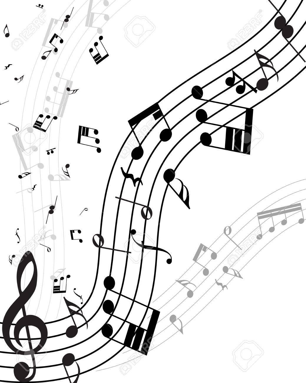 ラインとスタッフは音符 イラスト のイラスト素材 ベクタ Image