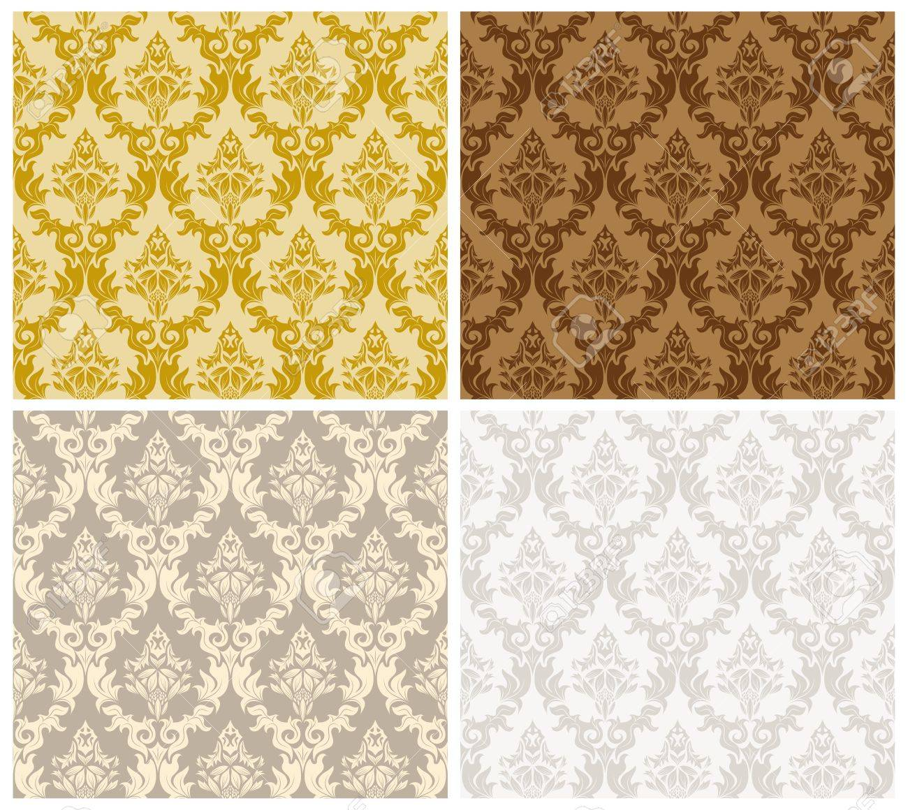 Damask seamless color pattern set. For easy making seamless pattern just drag all group into swatches bar, and use it for filling any contours. . Stock Vector - 16298638