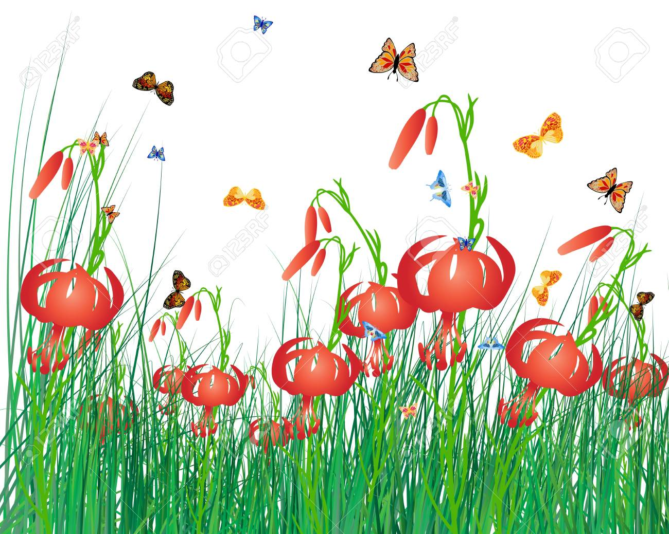 Meadow color background with butterfly and sun. All objects are separated. illustration with transparency. Stock Vector - 16575032