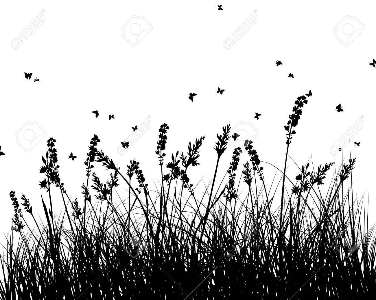 Meadow background with butterfly and flower. Vector illustration. Stock Vector - 18689138