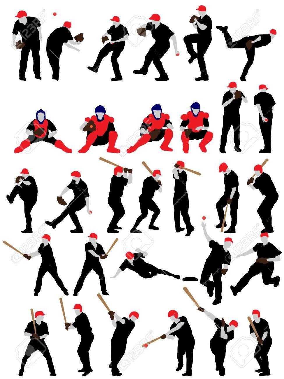 Set of detail baseball athlete silhouettes. Stock Vector - 20178765